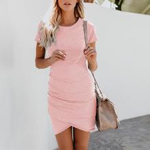 Womens Asymmetric Bodycon Short Sleeve Summer O-Neck Dress Dresses Casual Elegant Sheath Slim