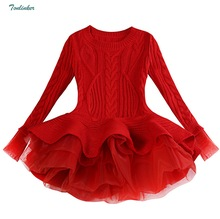 Gilrs New Year's Red Warm Sweater Dress For Girls Knitted Pullovers Tops Outfits Kids Children Tutu Lace Clothing Red pink 3-9Yr цена
