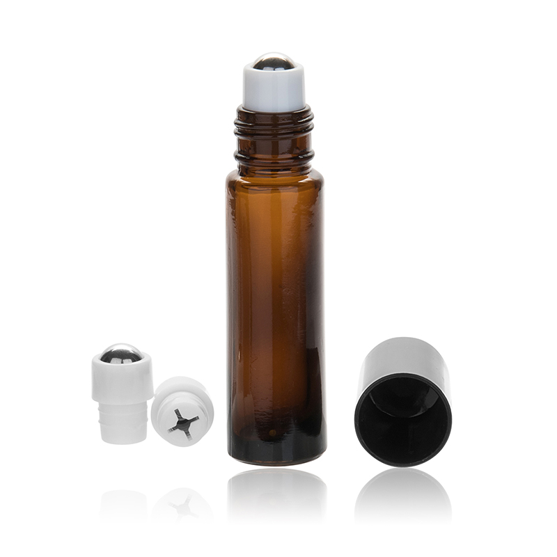 10pcs 10 ml Metal Roller Ball Refillable Glass Roll on Bottles Essential Oil Perfume Bottle Empty Cosmetics Container No Leaking in Refillable Bottles from Beauty Health
