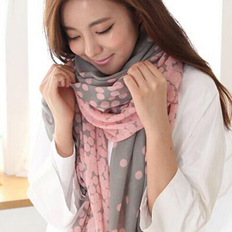 New Women's Long Candy   Scarf   Gradual Color Round Dots   scarves   for shawls girl harp shawls   scarves     Wraps   Stole Soft   Scarves