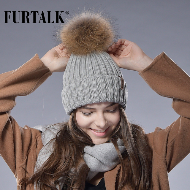 Furtalk Real Fur Hat Knitted Real Big Raccoon Pom Pom Hat Women Winter Hat
