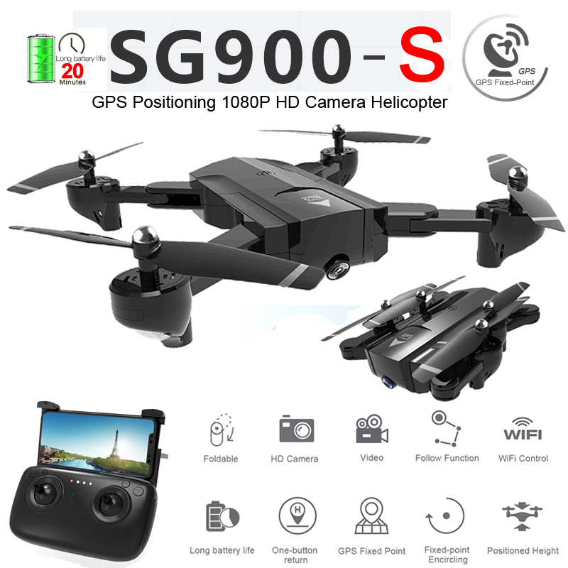 SG900-S <font><b>SG900S</b></font> GPS Foldable Profissional <font><b>Drone</b></font> with Camera 1080P HD Selfie WiFi FPV Wide Angle RC Quadcopter Helicopter Toys F11 image