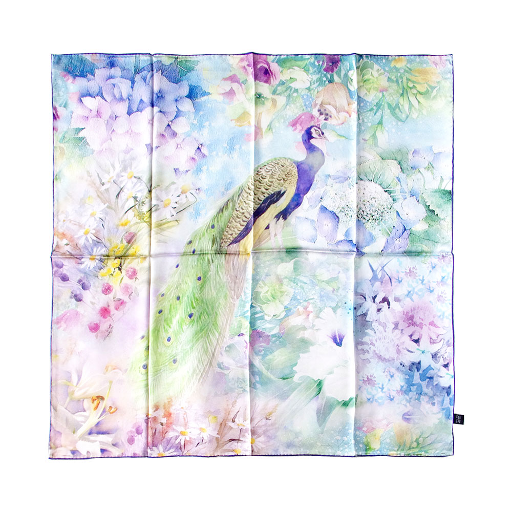 Brand New 100% Silk Square Scarf Women Flower Neckerchief Shawl Soft Wraps Peacock Prints Hand Rolled Head Scarf