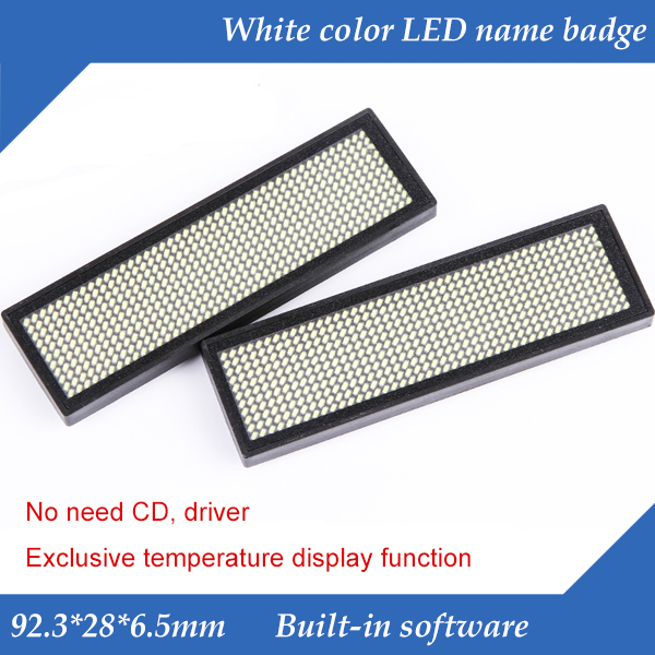 44x11 Dots White Color Scrolling Message LED Name Badge,  Rechargeable LED Name Tag