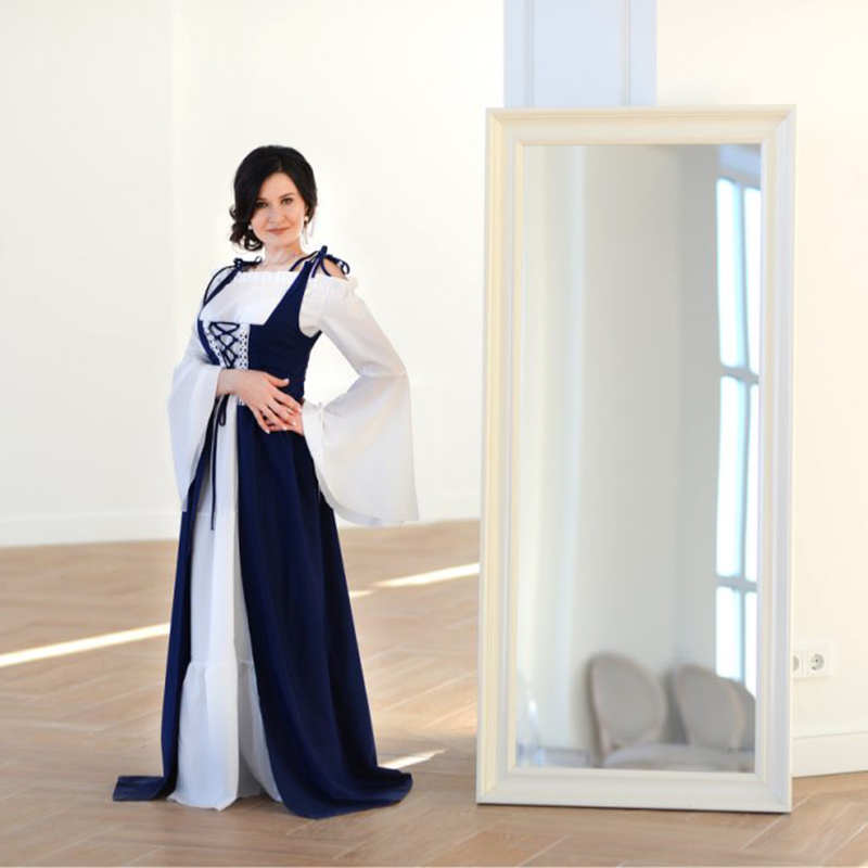 Rosétique robe pour femme Robes Verano 2019 Bandage Corset Médiévale Renaissance Vintage Robes Col Carré Party Club Élégant - 4