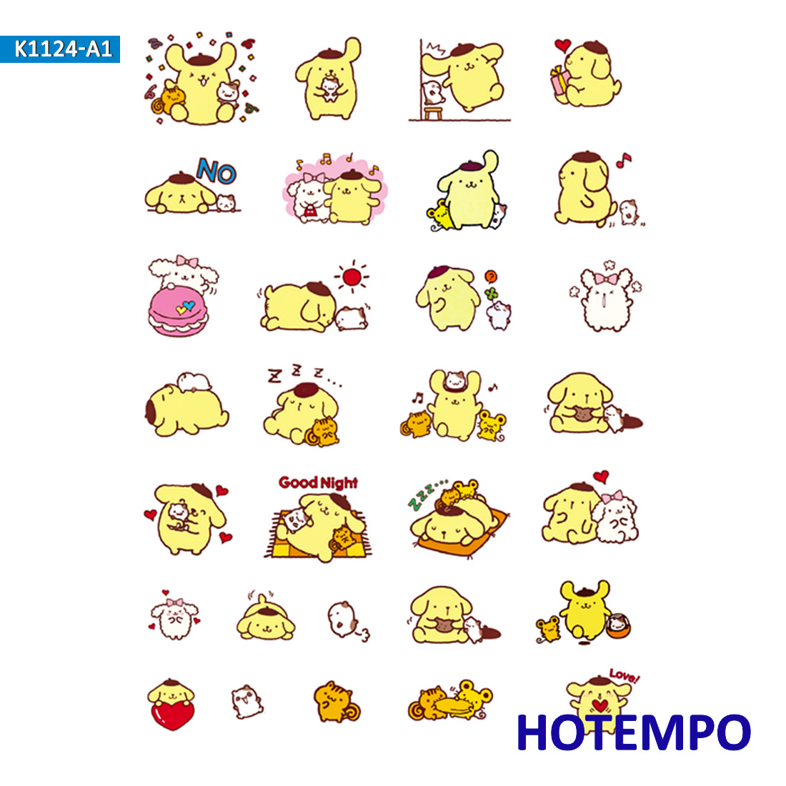 Pompom Purin Sanrio Stickers For Girl Children Kids Gift DIY Letter Diary Scrapbooking Stationery Pegatinas Decal Stickers