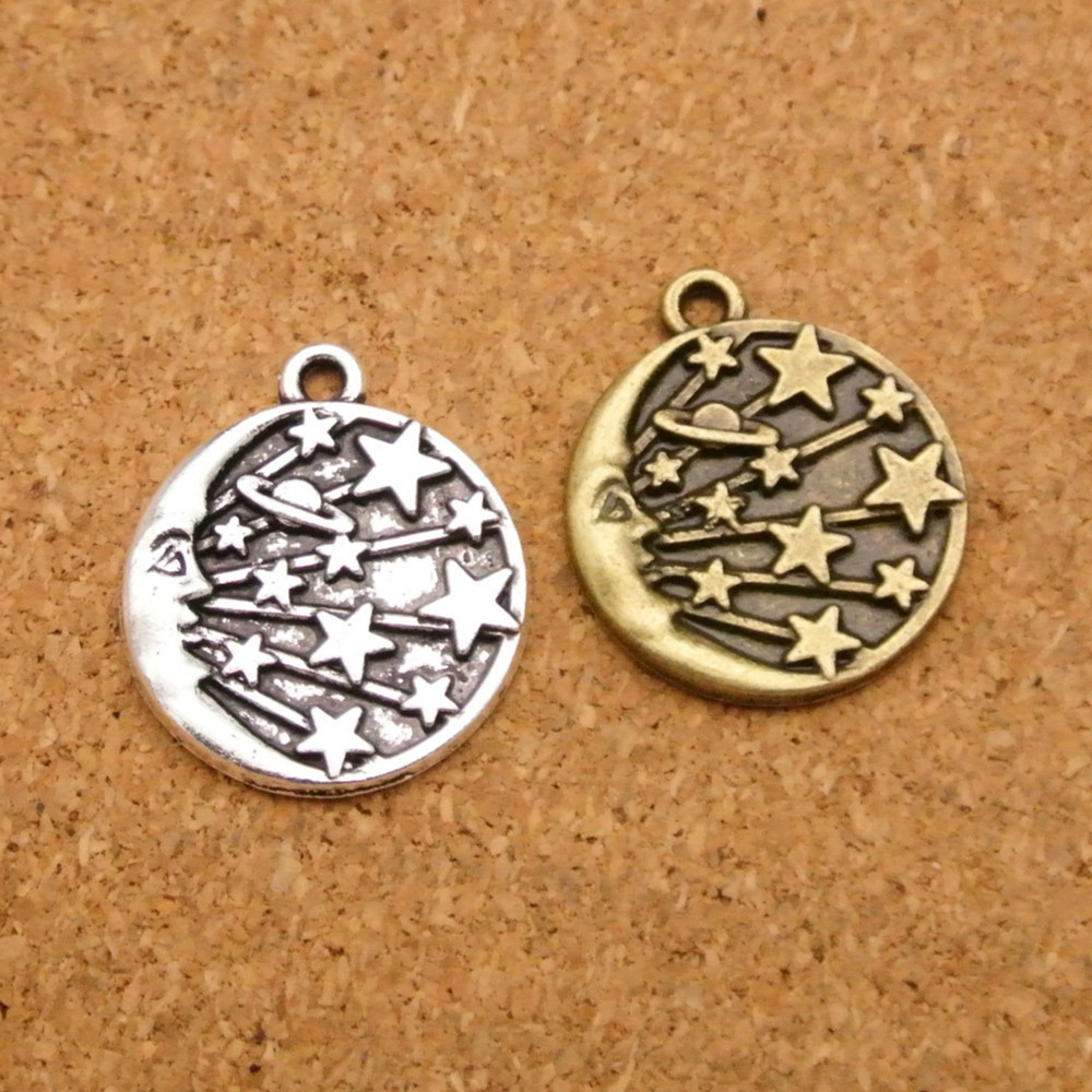 Moon Charm//Pendant Tibetan Antique Silver 19mm  10 Charms Accessory Jewellery