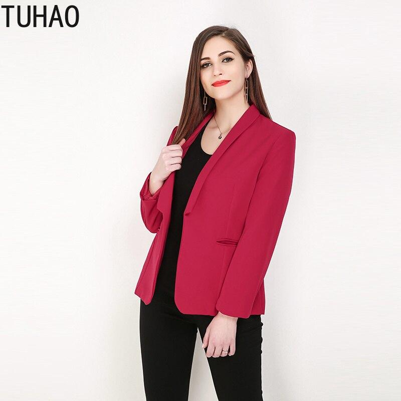 TUHAO 2019 SPRING Brief OL Solid Women Suits Blazer Feminino Jacket Ladies Plus Size 8XL 7XL 6XL Pocket Business Blaser Mujer RL