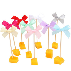 Image 3 - 20pcs Bowknot Cupcake Toppers מסיבת יום הולדת קישוטי ילדים למבוגרים תינוק 1st יום הולדת ילד ילדה אספקת Babyshower מין לחשוף