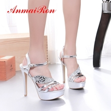 ANMAIRON Women Super High Platform Sandals Basic Party Buckle Strap Shoes Gold Sliver 13cm Solid Size 33-43 LY1624