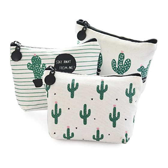 cactus Coin Purse Pencil Pen Case Cosmetic Makeup Bag Set of 3 cartoon cosmetics bag pokemon go gravity purse bag received wallet makeup pencil pen case bag zelda pokemon ball purse bag wt004