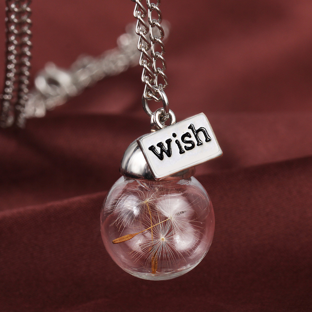 Romantic wish bottle glass plant specimens dandelion necklace dry romantic wish bottle glass plant specimens dandelion necklace dry flower hope seeds ball pendant necklaces diy long neckless in pendant necklaces from aloadofball Images
