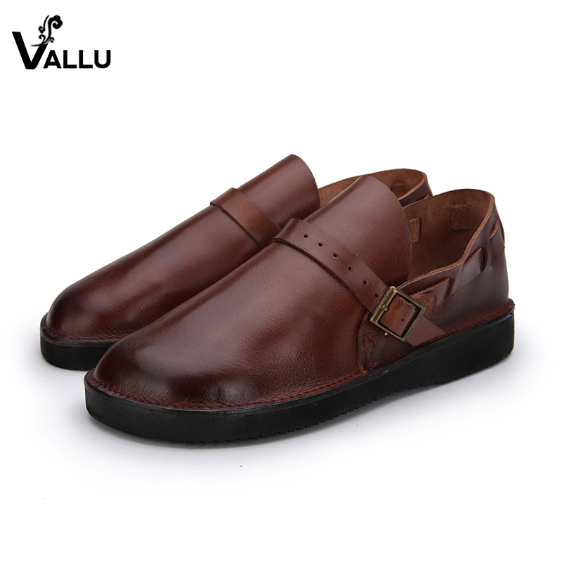 VALLU 2018 Women Flats Moccasins Round Toes Buckles Handmade Vintage Loafers Genuine Leather Ladies Flats Shoes 2018 vallu women brogue shoes wingtip perforated round toes lace up genuine leather vintage oxfords women flats shoes plus size