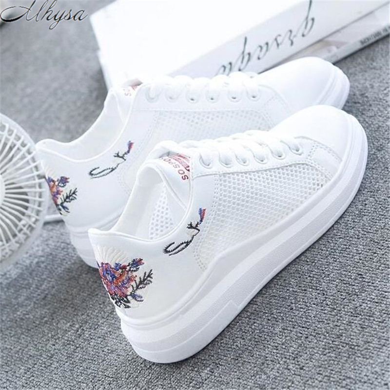 Mhysa 2019 Spring New Wedge Fashion White Shoes Female Platform Ladies Casual Shoes Comfortable Breathable Mesh Sneakers L259