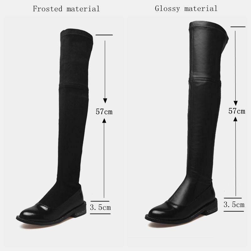 Bas D'hiver black Lacets Suede Grande Femme Cuir Sur Le Taille 42 2018 Matte Femmes Cuissardes Mode 34 Genou En À Bottes Glossy Chaussures Faux Talons Plat Black wq4AxOYz