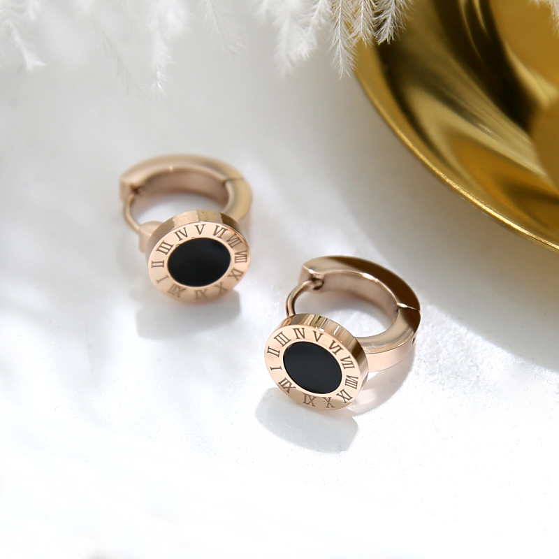 YUN RUO 2018 New Arrivals Roman Numerals Hoop Earring Rose Gold Color Woman Girl Gift Party Titanium Steel Jewelry Not Fade in Hoop Earrings from Jewelry Accessories