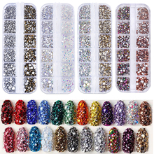 1 Box Multi Size Glass Nail Rhinestones Flat-back AB Mixed Colors Crystal Strass 3D Charm Gems DIY Manicure Nail Art Decorations new style multi size glass nail rhinestones mixed colors flat back ab crystal strass 3d charm gems diy nail art decorations