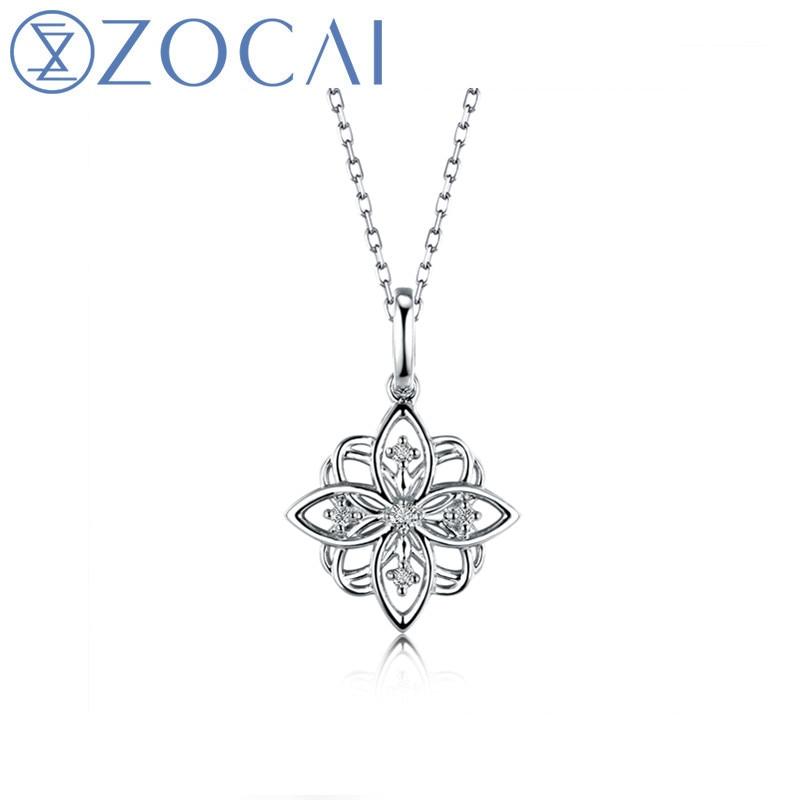 ZOCAI колье в форме вишни 0.04CT 18K подвеска из белого золота + цепочка из стерлингового серебра 925 пробы Подарочное ожерелье D04901