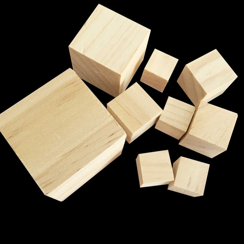 1pack Solid Wood Cube Wooden Square Blocks kids Early Educational Toys Assemblage Block Embellishment for DIY Woodwork Craft
