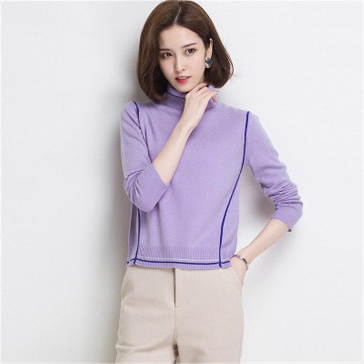 Style Roulé Grey dark 3xl Purple Pull Fil Coréenne Chandail M Gris Solide Tricot Blue Laine Pur Couleur Mince 3 light Femmes Col Laçage xUwXzSRq1