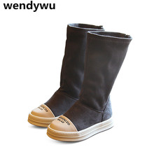 WENDYWU autumn winter brand high boots girls fashion gray boots for children pu leather shoes baby boys black warm boots