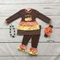 Niñas bebés ropa niñas feliz Thanksgiving y'all caen ropa de bebé niñas marrón boutique trajes de acción de gracias con accesorios
