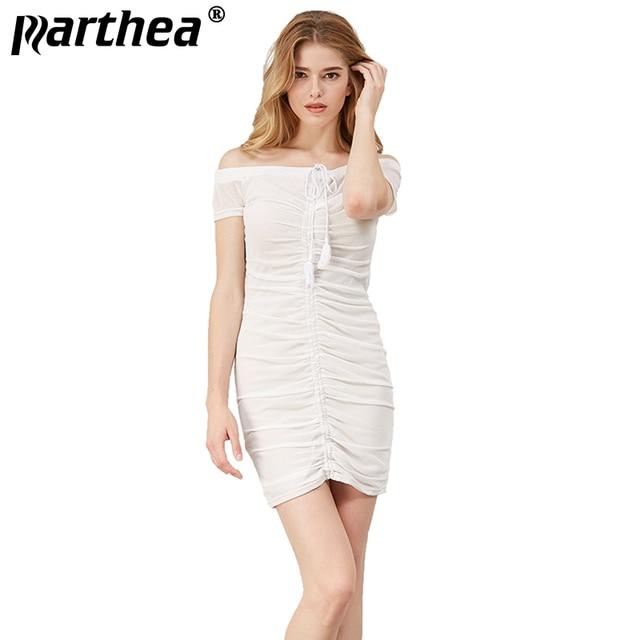84c72df99e2 Parthea Short Sleeve Lift Up Sheer Sexy Ruched Dress Women White Strapless  Bodycon Dresses Party Mesh Mini Club Dresses Vestidos