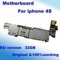 100% prueba original y desbloqueado para iphone 4s sistema de placa base placa base 32 gb ios con fichas completas de sustitución de la placa lógica
