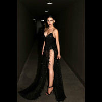 Ruoru Sequined Fringed Maxi Dresses Long Sexy Floor Length Party Dresses Black Robe Femme Backless Spaghetti
