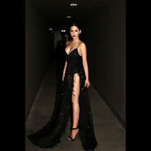 Ruoru Sequined Fringed Maxi Dresses Long Sexy Floor Length Party Black Robe Femme Backless Spaghetti Strap Slit Dress