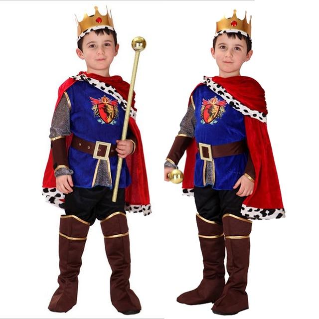 ハロウィンコスプレ子供王子衣装子供のための王衣装クリスマス男の子ファンタジアヨーロッパロイヤリティ服