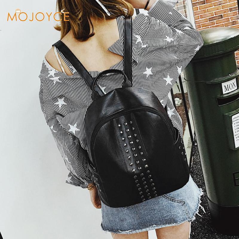 Punk Women Rivets Backpack PU Leather Zipper Backpacks For Teenager Girls Casual Shoulder Bag Fashion School Bags For Female Hot