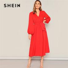 6d726a119d SHEIN Neon Red Lantern Sleeve Surplice Neck Wrap Belted Maxi Dress Women  Elegant Solid V Neck Spring Summer Dress