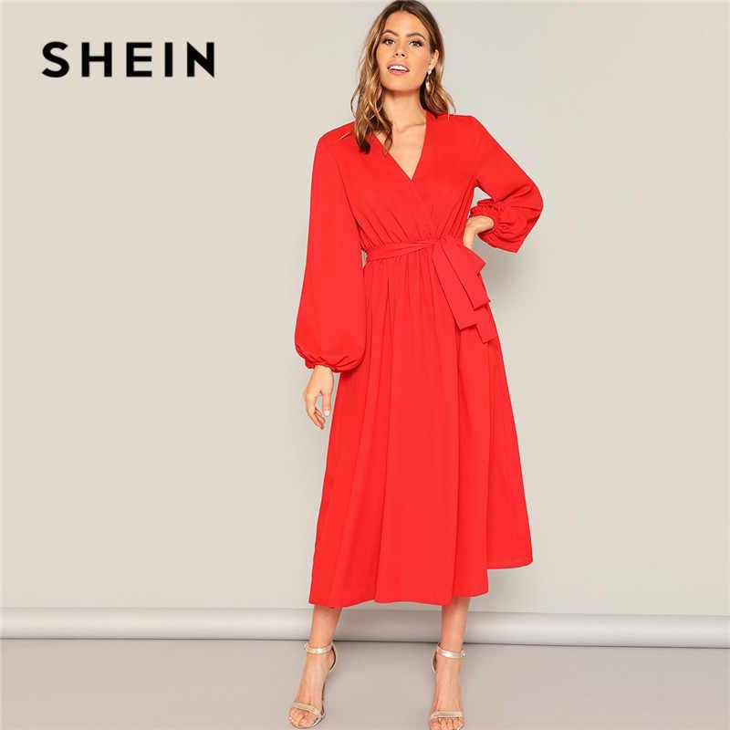 SHEIN Платье На Запах С Поясом, Оригинальным Рукавом И Глубоким V-образным Вырезом Одноцветное Платье Свободного Кроя