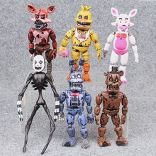 6 pieces set of five nights PVC action characters in Freddy 17 cm Bonnie Foxy Freddy toy 5 pieces Fazbear bear doll baby toys cheap Five Nights At Freddy s 16cm~18cm 6 years old Model Finished Goods Puppets First Edition ANYI Soldier Finished Product