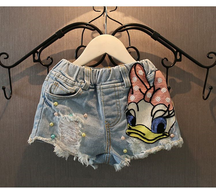 Girls cute   Shorts   Denim Cartoon Daisy Duck hole Baby Ripped Jeans   Short   Pants Summer Sequin Pearls Kids Trousers girl Clothes