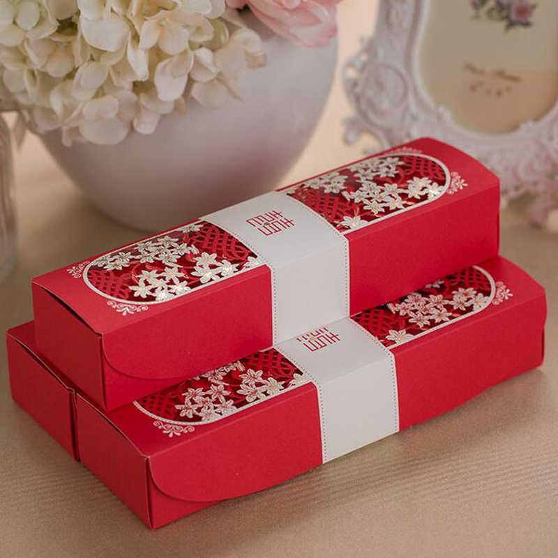 50pcs Red Scroll Box Packed Wedding Invitation Card With Butterfly Knot Customizable Marriage Wedding DecorSupplies,Red