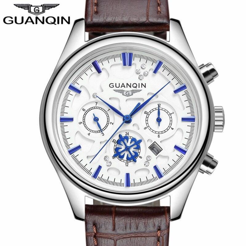 Montre Hommes GUANQIN Hommes Montres Top Marque De Luxe décontracté Montre À Quartz En Cuir Or Bleu Mode Montre-Bracelet reloj hombre 2016 Nouveau