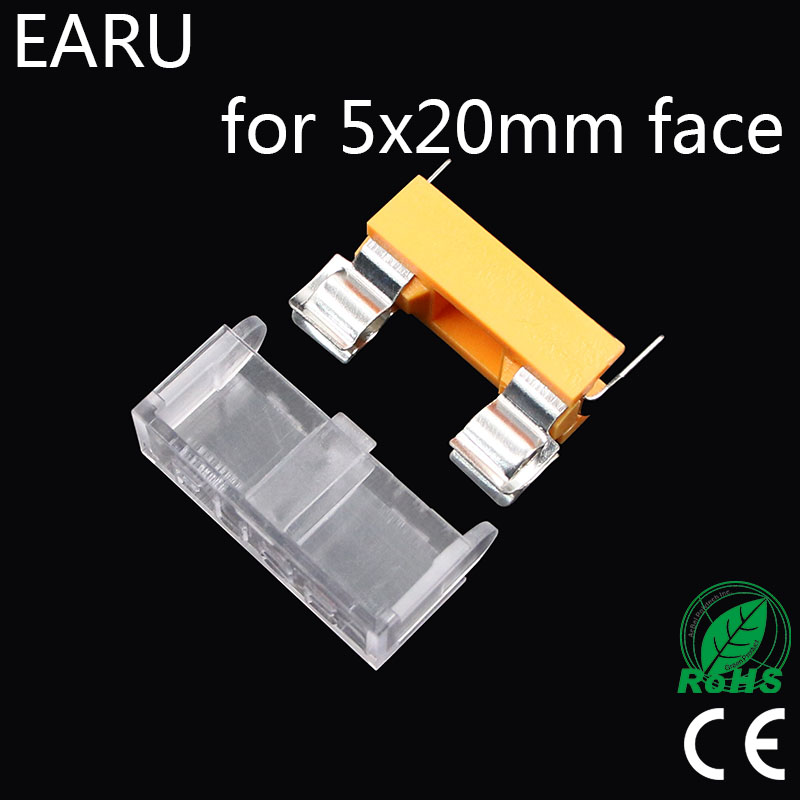 10pcs Panel Mount PCB for 5*20mm Glass Tube Fuse Holder Case Cover 5x20mm Casing Mount Base Car Auto Motorcycle Mini Socket Plug