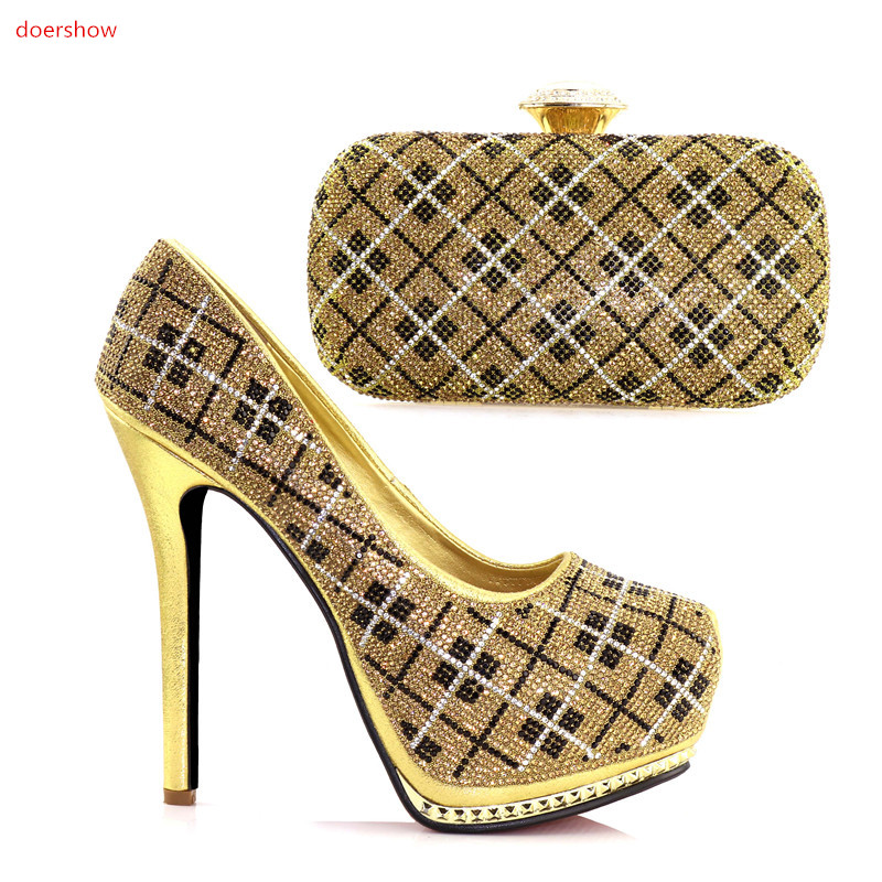 doershow Italian Shoe With Matching Bag For Party GOLD Stones Wedding Shoes And Bag Set High Quality Women Pumps JJC1-2 th16 38 gold free shipping high quality lady italian matching shoes and bag set for wedding and party in wholesale price