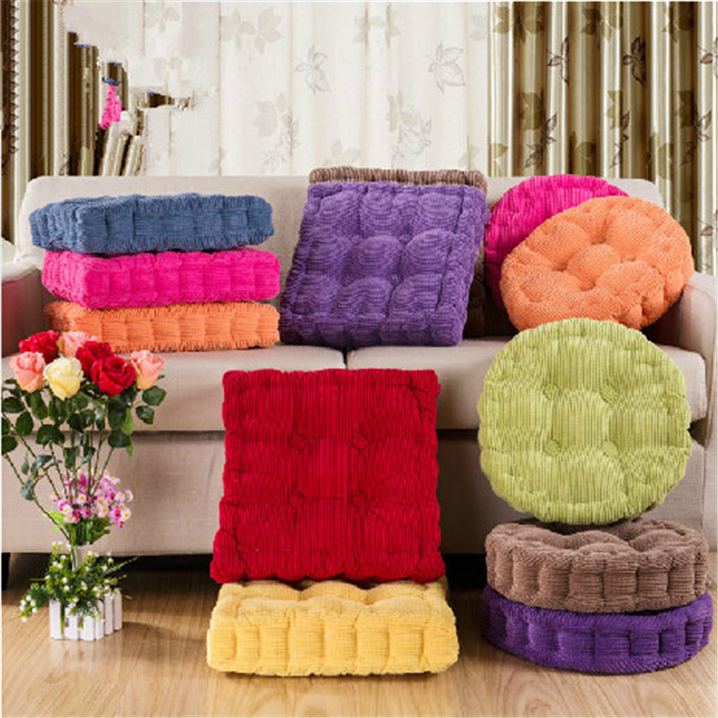 Hot 1pcs 40x40cm Round And Square Soft Warm Thickened Corduroy Seat Chair  Cushions Mat Pads For Chair Couch Floor Free Shipping
