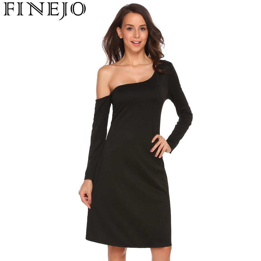 FINEJO платье на одно плечо вечерние платья однотонные вечерние сексуальные женские платья с длинным рукавом модные повседневные 2017 новые чер...