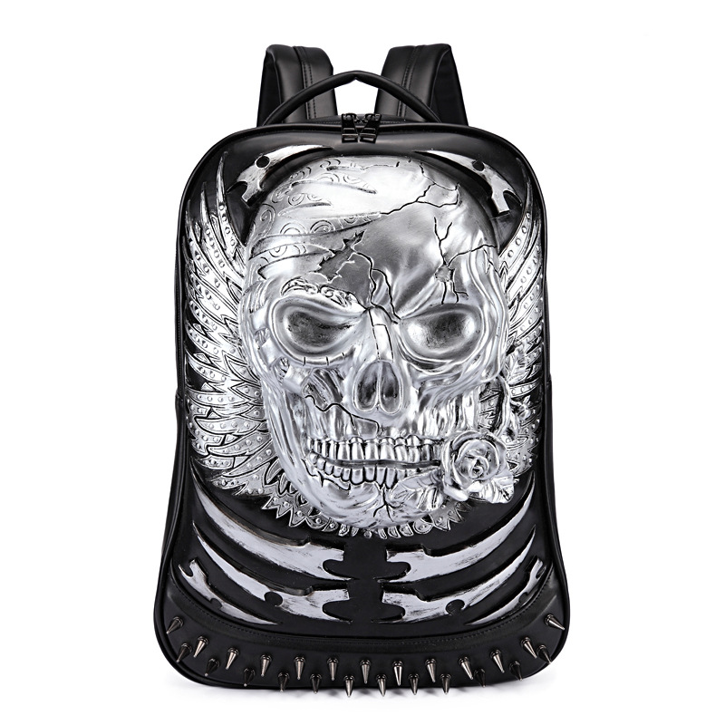 3D Skull Leather Backpack Fashion Men Backpack School Computer Laptop Bags Cool Travel Bags Girls Vintage Rivets Halloween Bags
