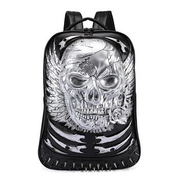 3D Skull Leather Backpack Fashion Men Backpack School Computer Laptop Bags  Cool Travel Bags Girls Vintage Rivets Halloween Bags