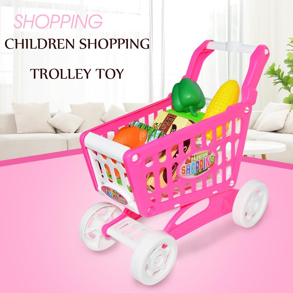 Plastic Simulation Shopping Trolley Cart Shop Basket Kid Pretend Play Toy