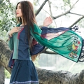 Women winter scarf luxury brand 2017 Spain style bohemian hippie ethnic long green red blue patchwork embroidery scarf cape