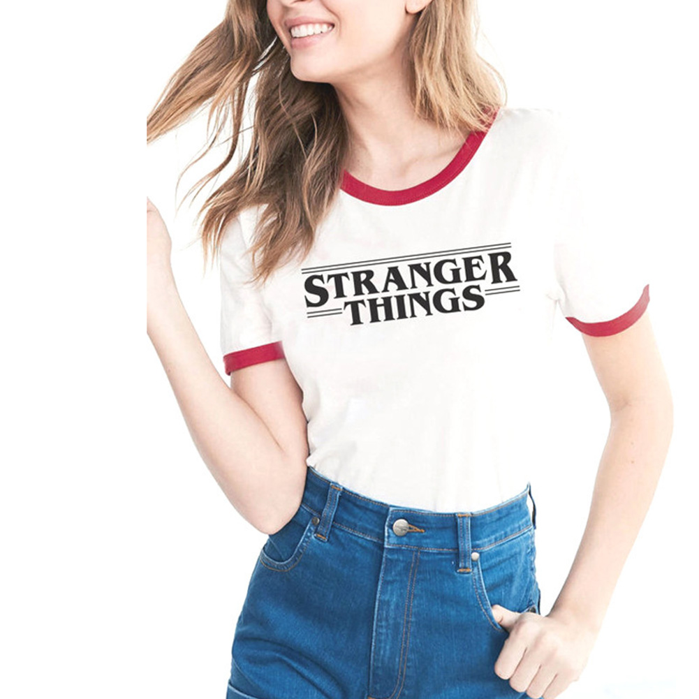 New Women men Letter Print t shirt fashion cotton clothing Top STRANGER THINGS Ringer Tee hipster shirts Tumblr Graphic t-shirt
