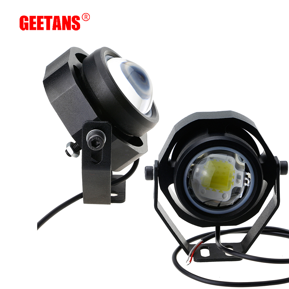 GEETANS 2Pcs 10W 12V 24V LED car fog lamp Spot/Flood Round LED Offroad Lights Daytime Running light for Motorcycle Car Truck H