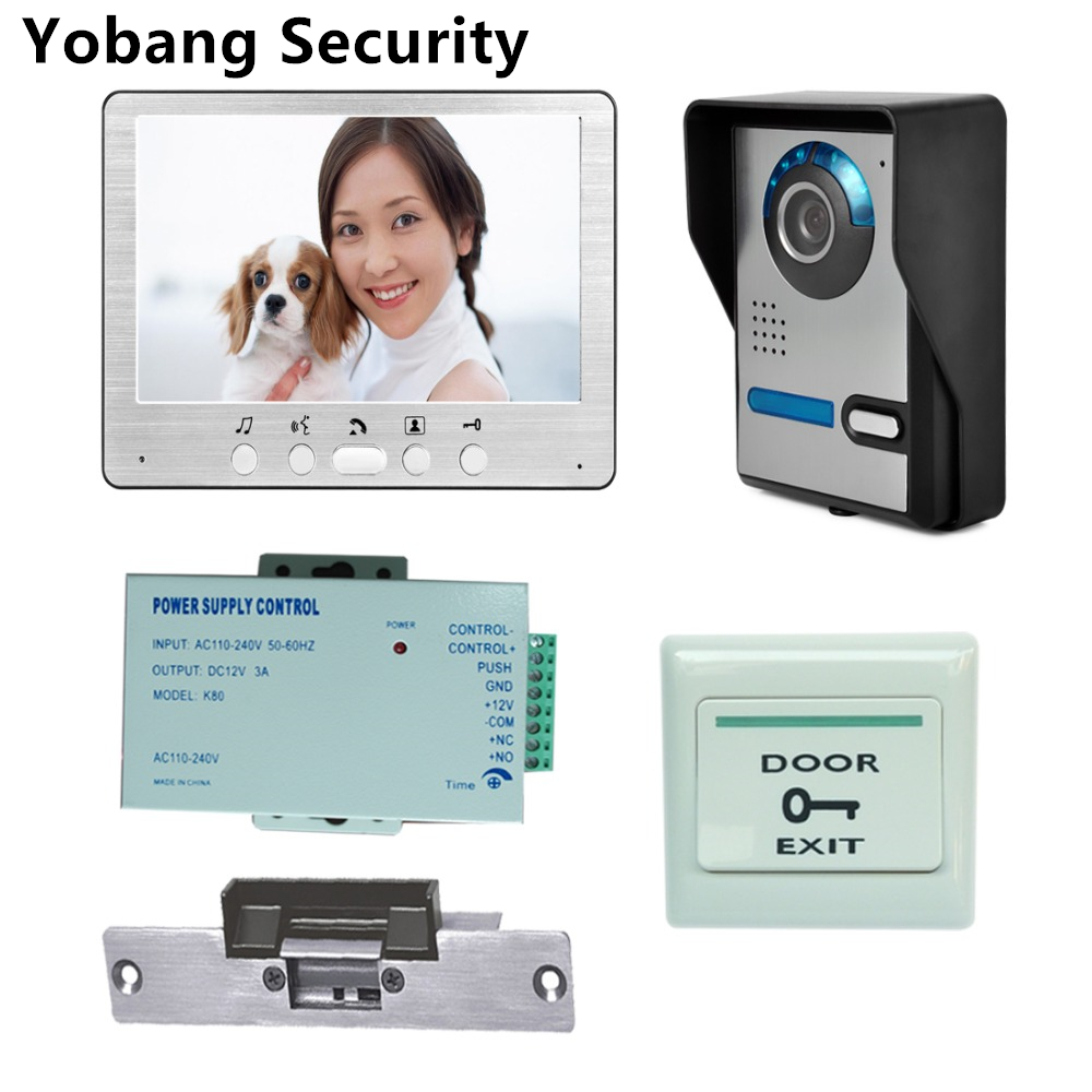 Yobang Security Freeship 7 Inch LCD Monitor Video Door Phone Intercom Door Bell Camera Video Intercom System+Electric Lock