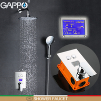 GAPPO shower faucet thermostatic shower mixer tap Chrome LCD Digital bath tap mixer shower head wall mount Torneira de chuveiro